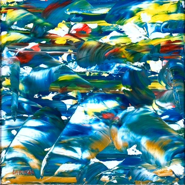 Oltre il baricentro Öl auf Pressplatte 21x21 cm von Francesco Lamazza