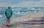 3 Mann am Meer (Selbst) - Öl auf Lwd, 50x78cm, 2017