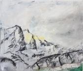 11 Alpenlandschaft - Öl, Kreide auf Lwd, 60x70cm, 2018