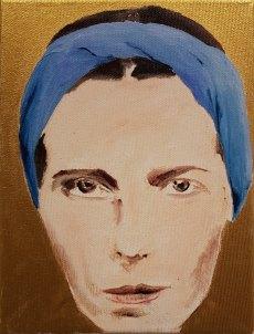 27 Simone de Beauvoir - Ölkreide, Ölfarbe, Acryl, Farbstift auf Lwd., 18x24cm, 2019
